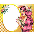 pop art woman with pink hair vector image vector image