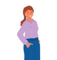 profile woman in purple blouse and blue skirt vector image vector image