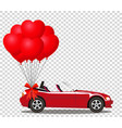 red modern cartoon cabriolet car with bunch of vector image vector image