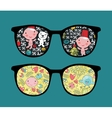 Retro sunglasses with cute baby reflection in it vector image vector image