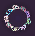 round frame of neon succulents with a top view on vector image