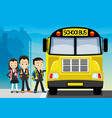 school bus and school children vector image