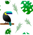 seamless pattern toucan and tropical monster vector image