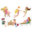 set beautiful pretty summer woman beach vector image vector image