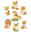 set foxes indians collection little cute vector image vector image