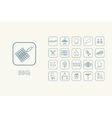 Set of BBQ simple icons vector image vector image