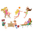 set of beautiful pretty summer woman beach vector image