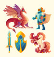 set of fantasy game design objects vector image