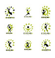 set of of excited abstract man with arms reaching vector image