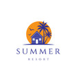 sunset palm house cabin cottage resort hotel inn vector image