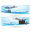 two travel banners with airline and sky vector image vector image