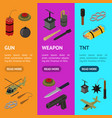 weapons 3d banner vecrtical set isometric view vector image vector image