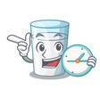 with clock protein rich milk in cartoon glass vector image