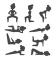woman home workout silhouette exercising at vector image
