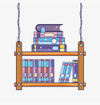 wooden library cartoon vector image