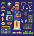 hip hop raper man musician icons with vector image
