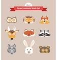 set of animal masks set 2 forest animals vector image