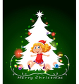 A christmas card template with a happy young girl vector image vector image