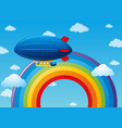 airship flying over the rainbow vector image