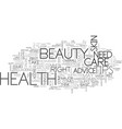 beauty and health tips text word cloud concept vector image vector image