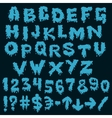 Blue font smudges alphabet splashing vector image