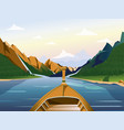 boat on the lake in a mountainous region with vector image