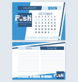 calendar planner for october 2019 fish vector image vector image