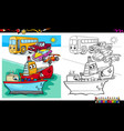 cars and ship characters coloring book vector image