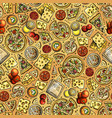 cartoon cute hand drawn pizza seamless pattern vector image vector image