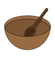 cartoon wooden bowl with spoon isolated on white vector image