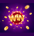 celebration win gold text on retro red board vector image