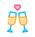 champagne glasses wedding ceremony icon vector image vector image