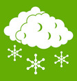 clouds and snow icon green vector image vector image