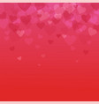 color bokeh effect hearts on a red background vector image