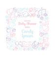 cute bashower invitation card for newborn boy vector image vector image