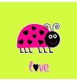 Cutepink lady bug with dots in shape of heart vector image vector image