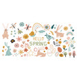 easter icons big collection flowers leaves vector image vector image