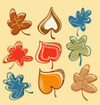 fall leaf set in bright colors vector image vector image