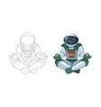 figure of the astronaut sitting in buddha pose vector image vector image