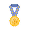 first place golden medal with blue ribbon vector image vector image