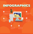 flat designer workplace infographic concept vector image vector image