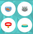 flat icon pets set of fishbowl kitty kitty vector image vector image