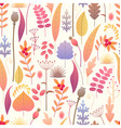 floral seamless pattern with autumn plants vector image vector image