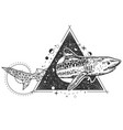geometric shark tattoo or t-shirt print vector image vector image