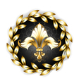 Gold Fleur De Lis with Laurel Wreath vector image vector image