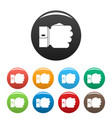 hand fist icons set color vector image vector image