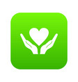 hands holding heart icon digital green vector image vector image