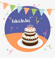 happy birthday party spanish greeting card vector image vector image
