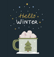 marshmallow cocoa with a cute winter cup vector image