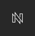 Modern monogram letter N logo black and white